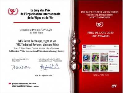 PRIX de l'OIV 2020 pour IVES Technical Reviews, vine and wine